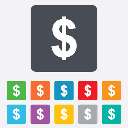 usd: Dollars sign icon. USD currency symbol. Money label. Rounded squares 11 buttons. Vector Illustration