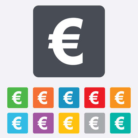 Euro sign icon. EUR currency symbol. Money label. Rounded squares 11 buttons. Vector