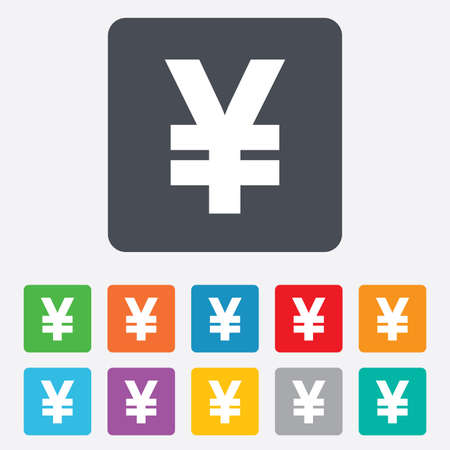 jpy: Yen sign icon. JPY currency symbol. Money label. Rounded squares 11 buttons. Vector