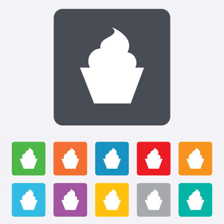 Muffin sign icon. Cupcake symbol. Rounded squares 11 buttons. Vector Vector