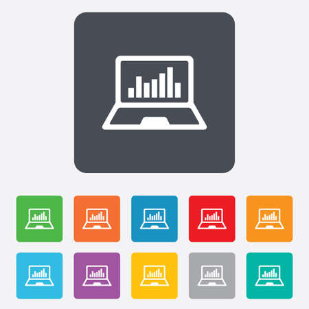 Laptop sign icon. Notebook pc with graph symbol. Monitoring. Rounded squares 11 buttons. Vector Stock Vector - 27678630
