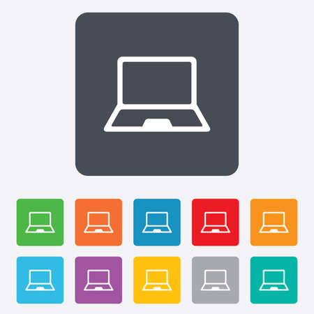Laptop sign icon. Notebook pc symbol. Rounded squares 11 buttons. Vector Stock Vector - 27678683