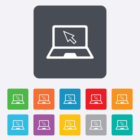 Laptop sign icon. Notebook pc with cursor pointer symbol. Rounded squares 11 buttons. Vector Stock Vector - 27678680