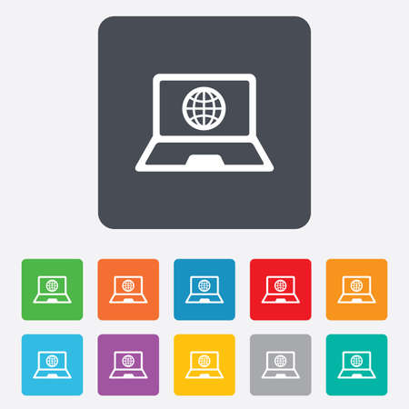Laptop sign icon. Notebook pc with globe symbol. Rounded squares 11 buttons. Vector Stock Vector - 27678685