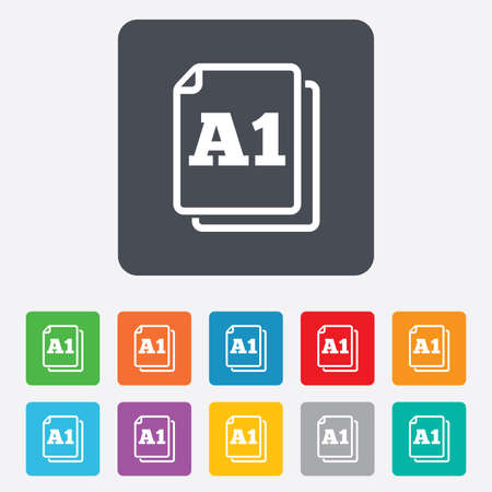 a1: Paper size A1 standard icon. File document symbol. Rounded squares 11 buttons. Vector Illustration
