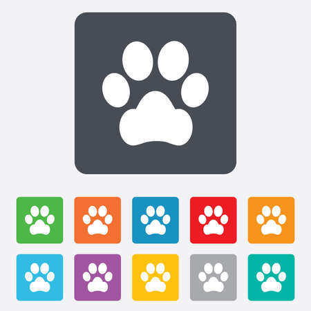 dog paw: Dog paw sign icon. Pets symbol. Rounded squares 11 buttons. Vector Illustration