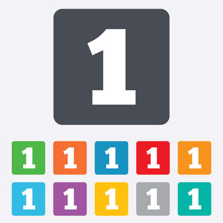 First place award sign. Winner symbol. Step one. Rounded squares 11 buttons. Vector Vector
