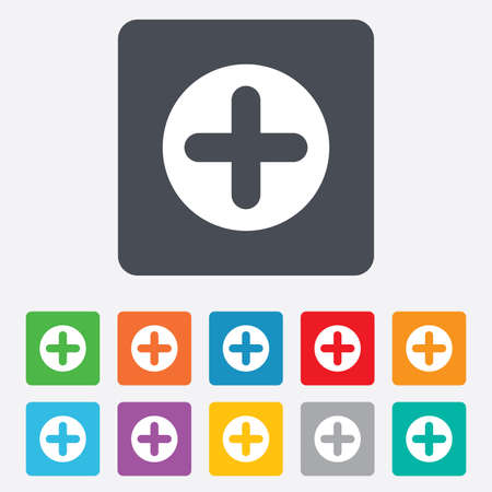 zoom in: Plus sign icon. Positive symbol. Zoom in. Rounded squares 11 buttons. Vector Illustration