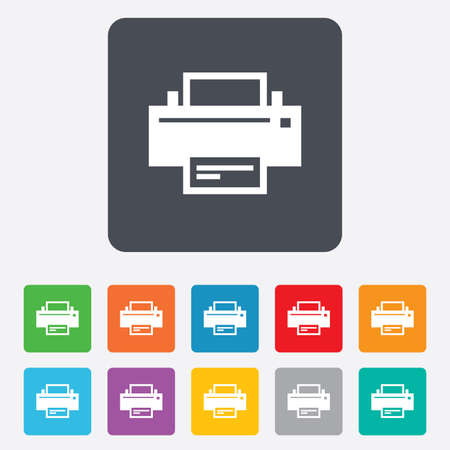 Print sign icon. Printing symbol. Print button. Rounded squares 11 buttons. Vector Vector
