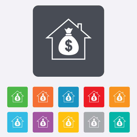 Mortgage sign icon. Real estate symbol. Bank loans. Rounded squares 11 buttons. Vector Vector