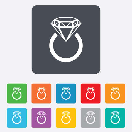 Jewelry sign icon. Ring with diamond symbol. Rounded squares 11 buttons. Vector Vector