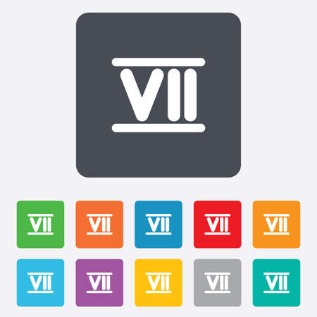 Roman numeral seven sign icon. Roman number seven symbol. Rounded squares 11 buttons. Vector Vector