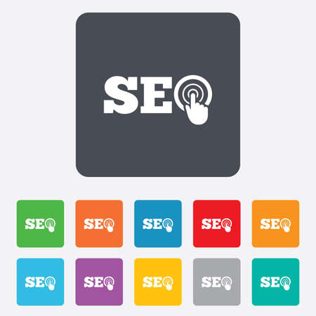 SEO sign icon. Search Engine Optimization symbol. Rounded squares 11 buttons. Vector Vector