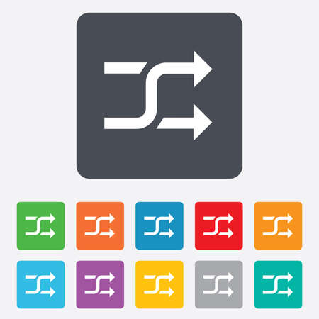 Shuffle sign icon. Random symbol. Rounded squares 11 buttons. Vector Vector