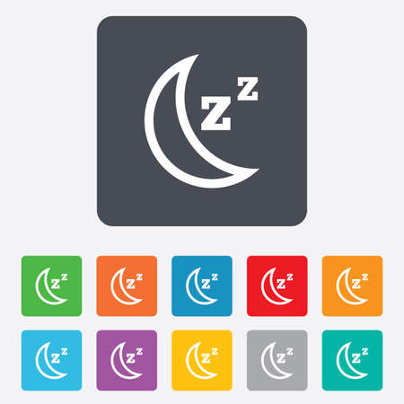 zzz: Sleep sign icon. Moon with zzz button. Standby. Rounded squares 11 buttons. Vector