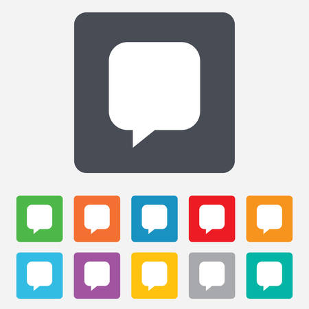 Chat sign icon. Speech bubble symbol. Communication chat bubbles. Rounded squares 11 buttons. Vector Vector
