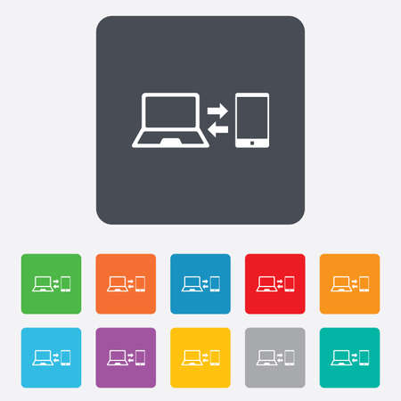 in sync: Synchronization sign icon. Notebook with smartphone sync symbol. Data exchange. Rounded squares 11 buttons. Vector Illustration