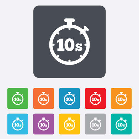 Timer 10 seconds sign icon. Stopwatch symbol. Rounded squares 11 buttons. Vector Vector