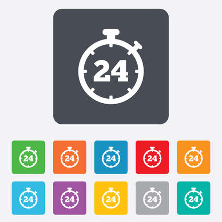 24 hours Timer sign icon. Stopwatch symbol. Customer support service. Rounded squares 11 buttons. Vector Vector