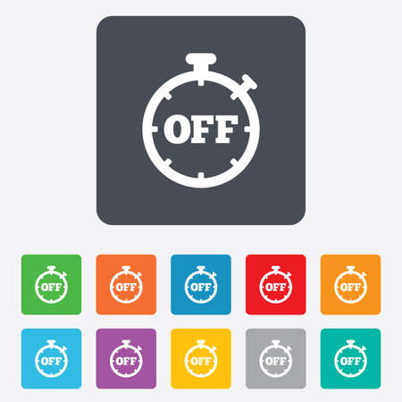 Timer off sign icon. Stopwatch symbol. Rounded squares 11 buttons. Vector Vector