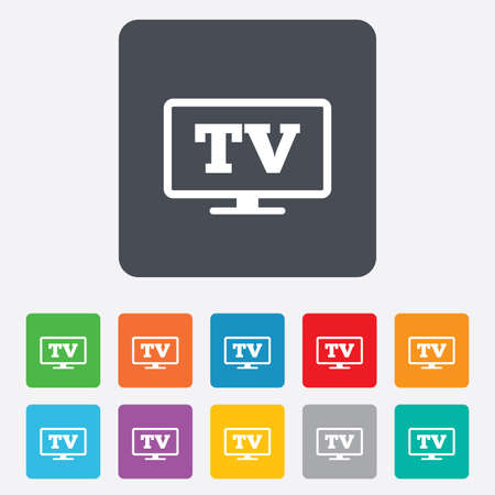 Widescreen TV sign icon. Television set symbol. Rounded squares 11 buttons. Vector Vector