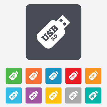 Usb 3.0 Stick sign icon. Usb flash drive button. Rounded squares 11 buttons. Vector Vector