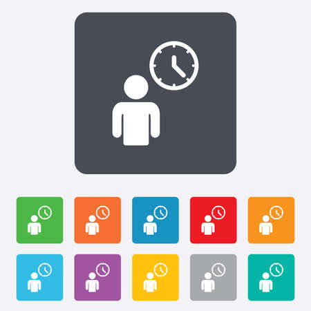 Person waiting sign icon. Time symbol. Queue. Rounded squares 11 buttons. Vector Vector