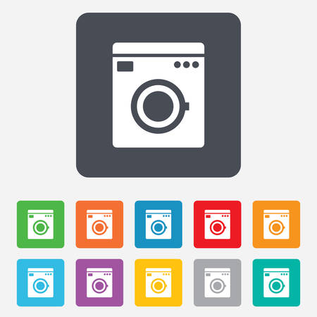 Washing machine icon. Home appliances symbol. Rounded squares 11 buttons. Vector Vector
