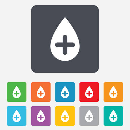 Water drop with plus sign icon. Softens water symbol. Rounded squares 11 buttons. Vector