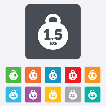 kilogram: Weight sign icon. 1.5 kilogram (kg). Envelope mail weight. Rounded squares 11 buttons. Vector