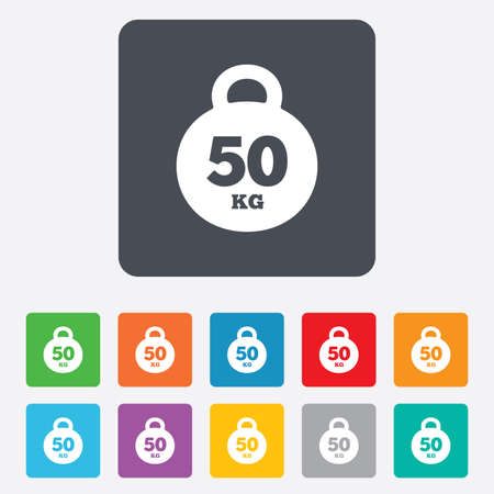 kg: Weight sign icon. 50 kilogram (kg). Sport symbol. Fitness. Rounded squares 11 buttons. Vector