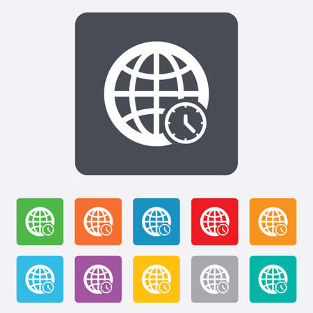World time sign icon. Universal time globe symbol. Rounded squares 11 buttons. Vector Vector