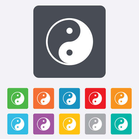 daoism: Ying yang sign icon. Harmony and balance symbol. Rounded squares 11 buttons. Vector