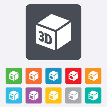 3D Print sign icon. 3d cube Printing symbol. Additive manufacturing.  Vector