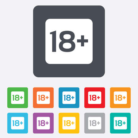 18 years old sign. Adults content only icon. Rounded squares 11 buttons. Vector Vector