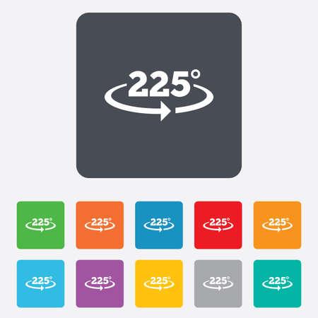 math icon: Angle 225 degrees sign icon. Geometry math symbol.