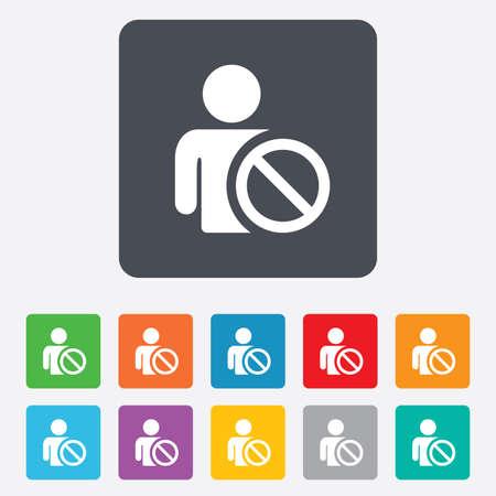 blacklist: Blacklist sign icon. User not allowed symbol.  Illustration