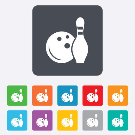 kegelen: Bowling spel teken pictogram. Bal met pin skittle symbool.