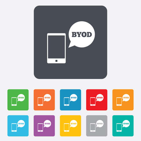 BYOD sign icon. Bring your own device symbol. Smartphone with speech bubble sign. Vector