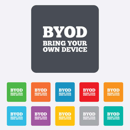 apporter: BYOD signe ic�ne. Apportez votre propre symbole du dispositif. Illustration