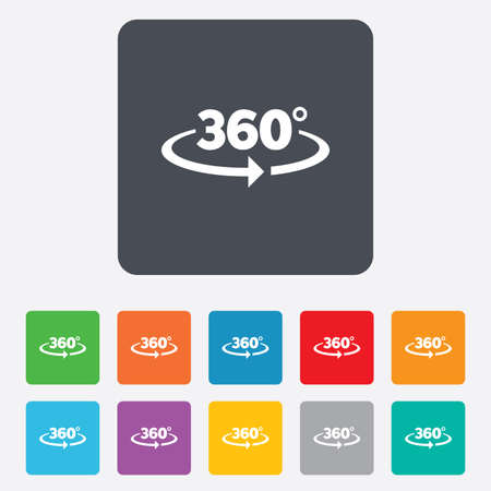 Angle 360 degrees sign icon. Geometry math symbol. Full rotation.  Vector
