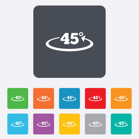 Angle 45 degrees sign icon. Geometry math symbol. Rounded squares 11 buttons. Vector Vector