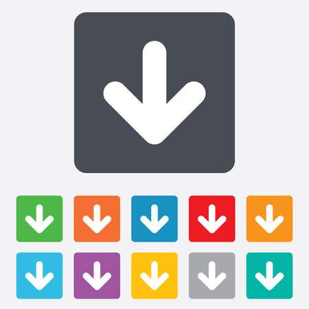 アイコンをダウンロードしてください。ボタンをアップロードします。負荷記号です。角丸正方形の 11 ボタン。ベクトル  イラスト・ベクター素材