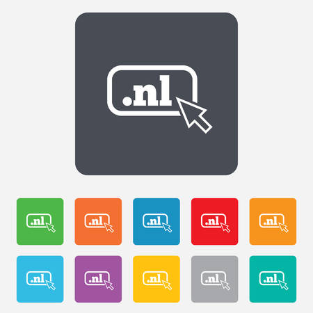 nl: Domain NL sign icon. Top-level internet domain symbol with cursor pointer.