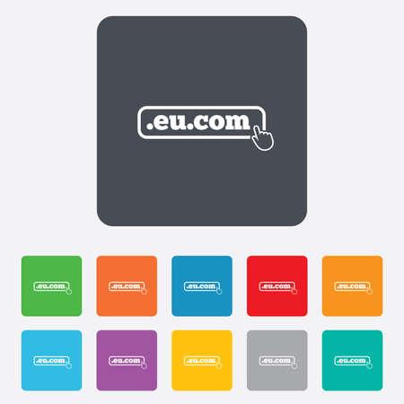 subdomain: Domain EU.COM sign icon. Internet subdomain symbol with hand pointer.