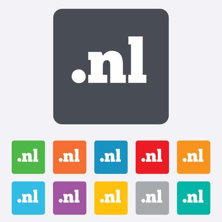 nl: Domain NL sign icon. Top-level internet domain symbol.