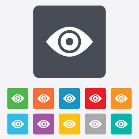 publish: Eye sign icon. Publish content button. Visibility. Rounded squares 11 buttons. Vector Illustration
