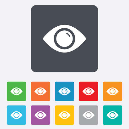 zichtbaarheid: Eye teken pictogram. Publiceren knop content. Zichtbaarheid. Afgeronde pleinen 11 knoppen. Vector