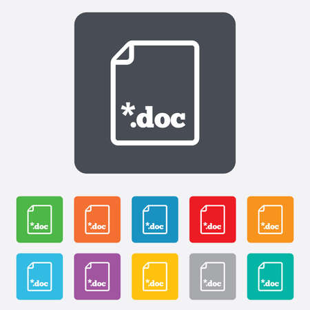 file extension: File document icon. Download doc button. Doc file extension symbol. Rounded squares 11 buttons. Vector Illustration