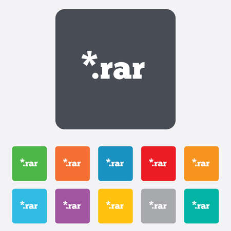 rar: Archive file icon. Download compressed file button. RAR zipped file extension symbol. Rounded squares 11 buttons. Vector